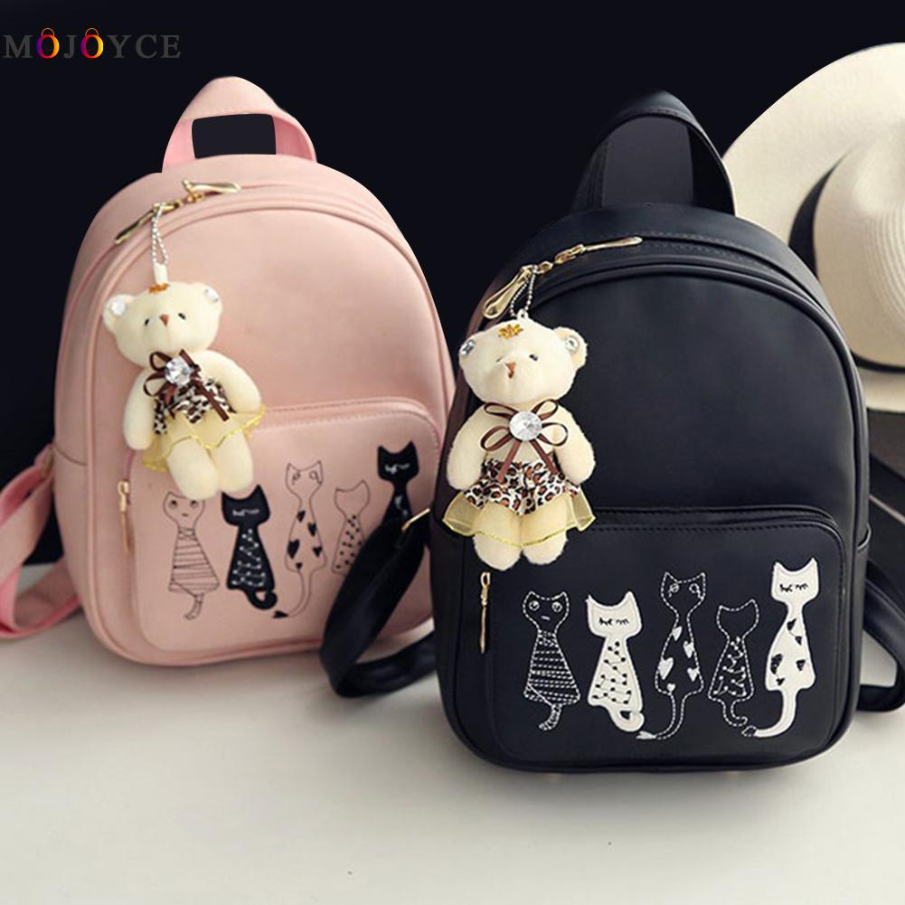 4Pcsset Small Backpacks Girls Black Pink Pu Leather -2648