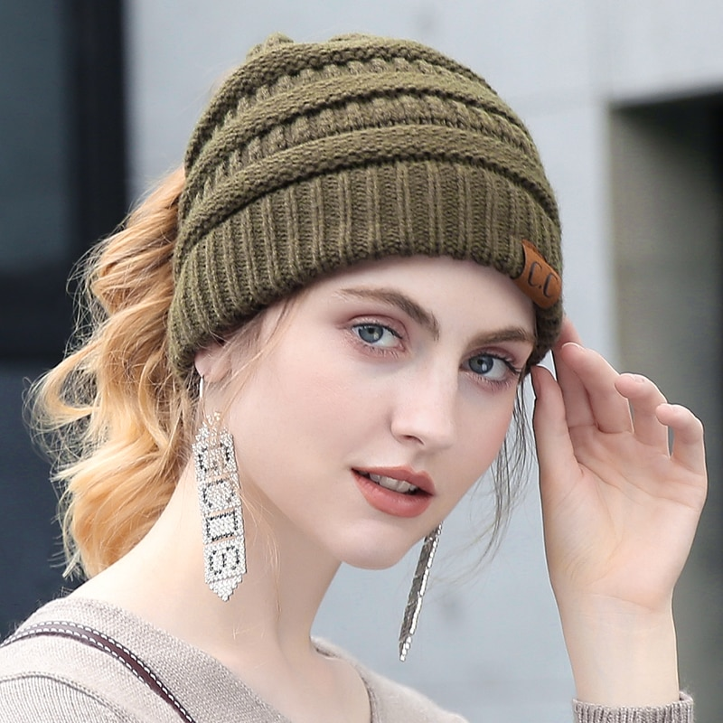 CC Ponytail Beanie Winter Hats For Women Soft Knit Ponytail Beanie ... 1ce9206158a