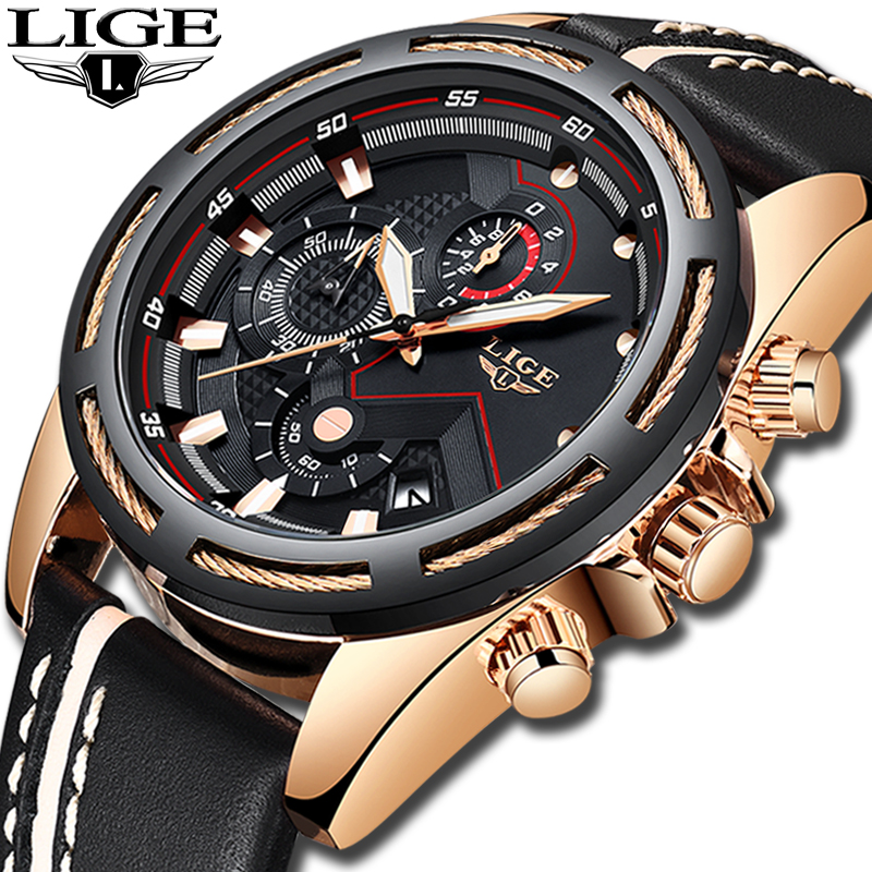 9af4edae4 LIGE Watch Men Fashion Sport Quartz Clock Leather Mens Watches Top Brand  Luxury ...