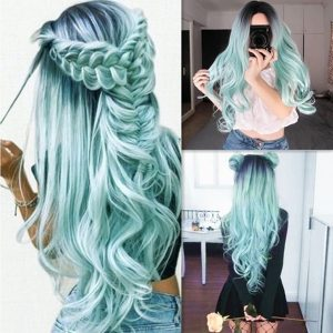 Fashion 5 Style Black Ombre Long Wave Wigs Centre Parting Pink Loose Curly Wig Full Wig Cosplay Halloween Costume
