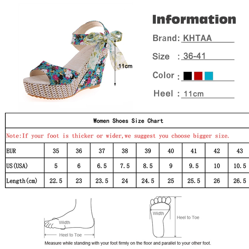 Women Floral Wedge Sandals High Heel Bohemian Ankle Strap Open Toe Shoes Size 9