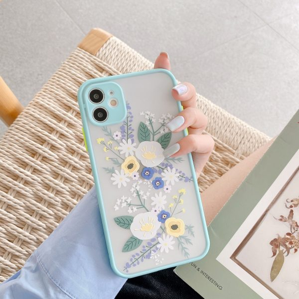 Luxury Flower Case For iPhone 11 Pro Max X XR XS Max 7 8 Plus 3D Relief Floral Transparent Soft TPU Back Cover
