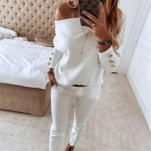 Women Off-Shoulder T-Shirt Ladies Solid Color Button Long Sleeve Autumn Winter Warm Casual Loose Tops
