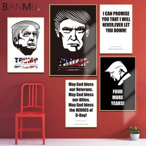 BANMU Wall Art Poster Print Cartoon Donald Trump Portrait Pictures President Campaign Canvas Painting for Living Room Home Decor