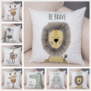 Nordic Zebra Hippo Giraffe Lion Crocodile Pillow Case Decor Animal Cushion Cover for Sofa Pillowcase Pillow Covers 45x45cm
