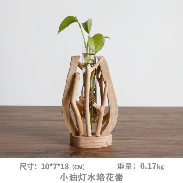 Pure Handwork Wooden Vase Decorated Solid Wood Flower Pot for Creative Glass Floral Hydroponic Container Home Decorative Vase